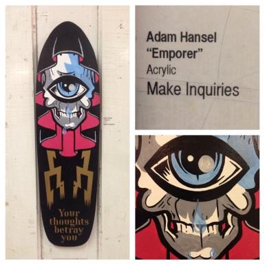 """Adam Hansel aka DeadVolt """"Emporer"""" original art skateboard deck acrylic on wood"""