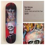 "Adam Hansel aka DeadVolt ""Emporer"" original art skateboard deck acrylic on wood acrylic, gold leaf on wood"