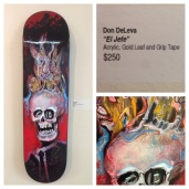 "Adam Hansel aka DeadVolt ""Emporer"" original art skateboard deck acrylic on wood acrylic, gold leaf on wood"
