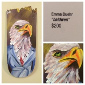 "Emma Duehr ""Baldwen"" original art recycled skateboard deck hand painted"