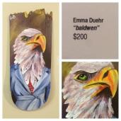 "Emma Duehr ""Baldwen"" original art recycled skateboard deck hand painted"