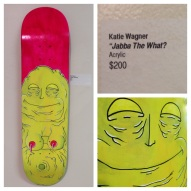 "Emma Duehr ""Baldwen"" original art recycled skateboard deck hand painted acrylic on wood"